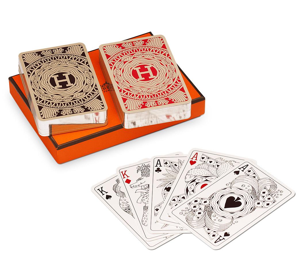 Bridge-spel från Hermés med silverkantade kort