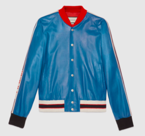 Gucci Men's Blue Leather Jacket FW17