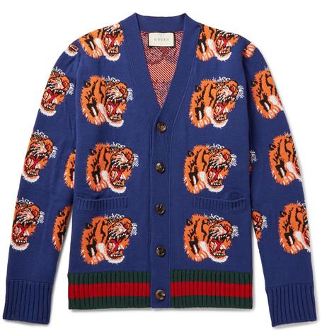 tiger-mönstrad cardigan från Gucci