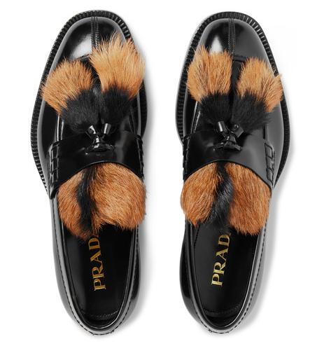 Prada leather tassel loafers with fur