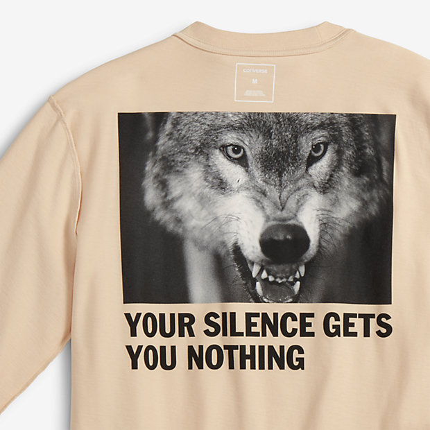 Converse Slam Jam x Cali Thornhill DeWitt mens-long-sleeve-t-shirt Your Silence Gets You Nothing