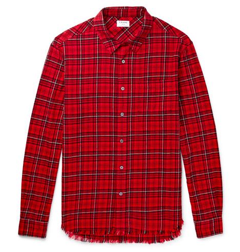 FRAME Checked Cotton-Flannel Shirt flanellskjorta