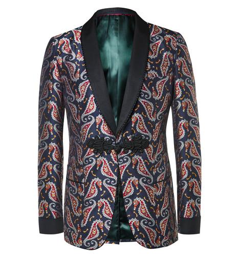 Gucci smoking Blue Paisley Jacquard Tuxedo Jacket nyårsfirande