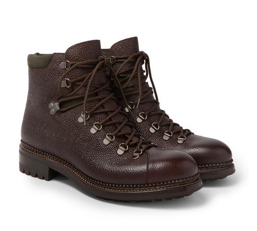 O'Keeffe Pebble-Grain Leather Hiking Boots
