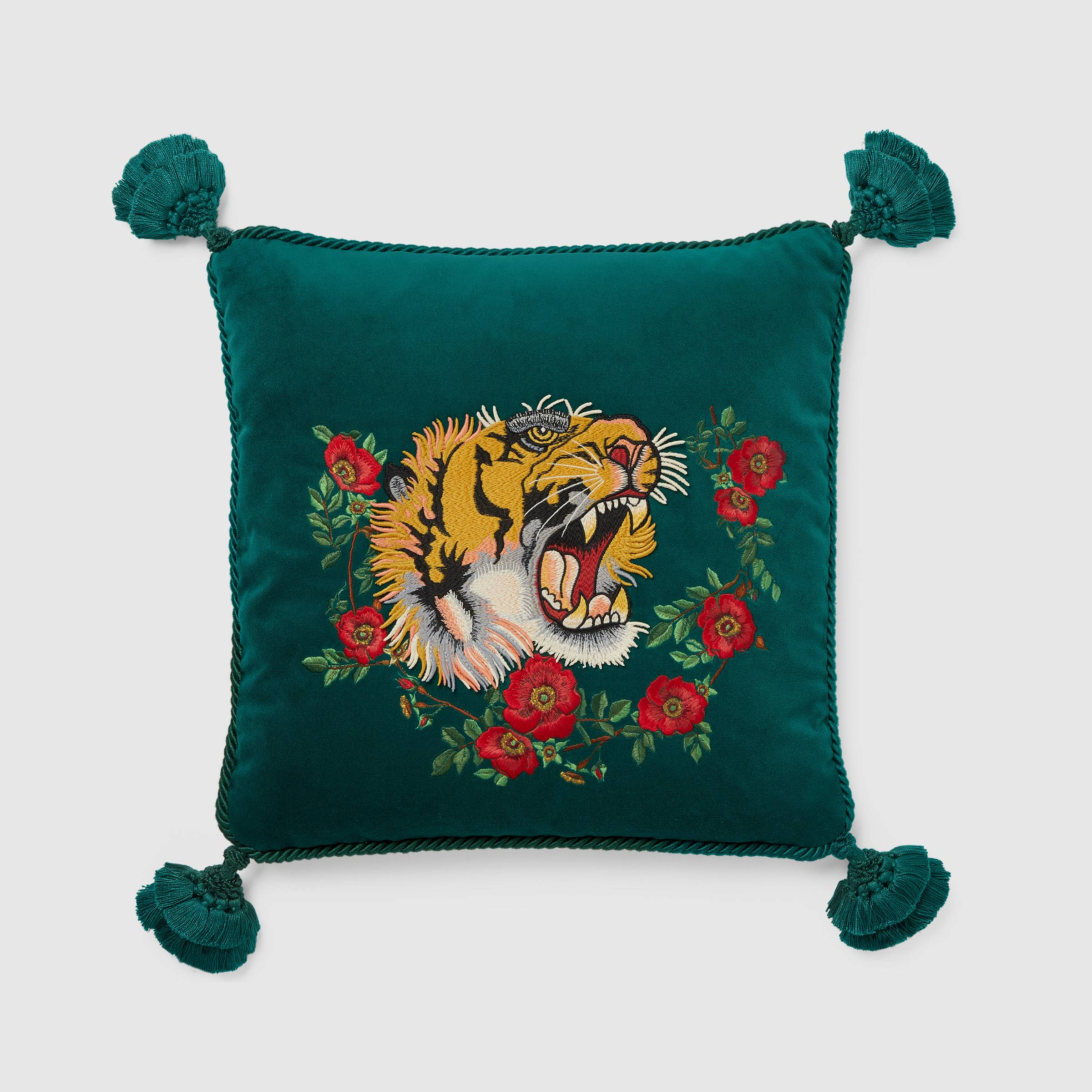 Velvet cushion with tiger embroidery from Gucci Decor
