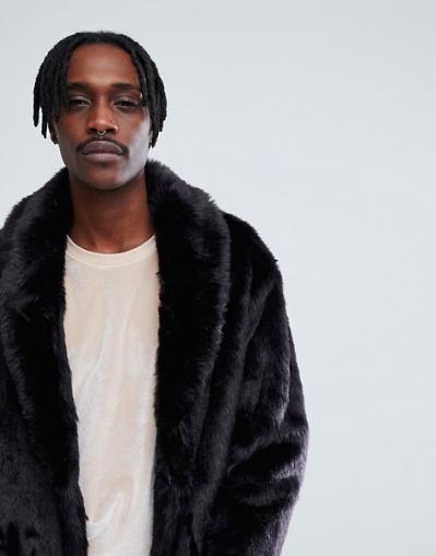 ASOS Faux Fur Longline Coat in Black Fuskpäls Herr Man