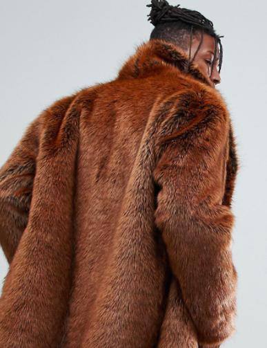 ASOS Faux Fur Overcoat in Rust Fuskpäls herr man