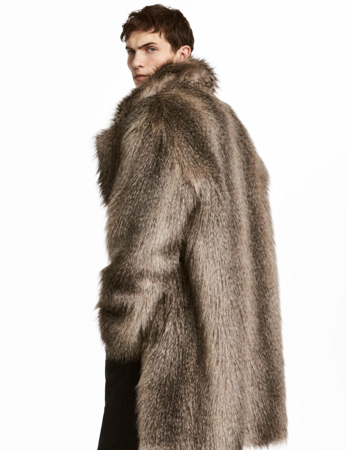 H&M Men's Faux Fur Coat Fuskpäls herr H&M