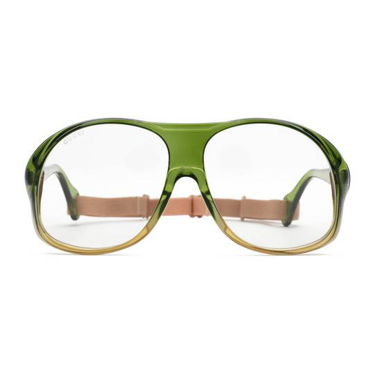 Gucci solglasögon Round-frame acetate green with rubber band