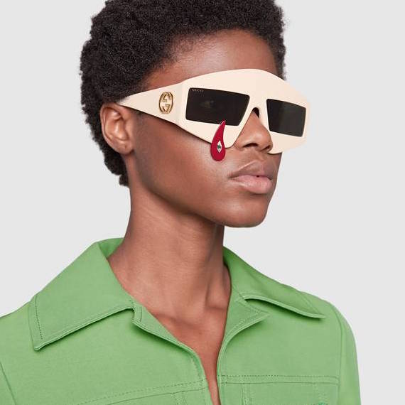Gucci solglasögon ivory rectangular-frame sunglasses with red tear drop