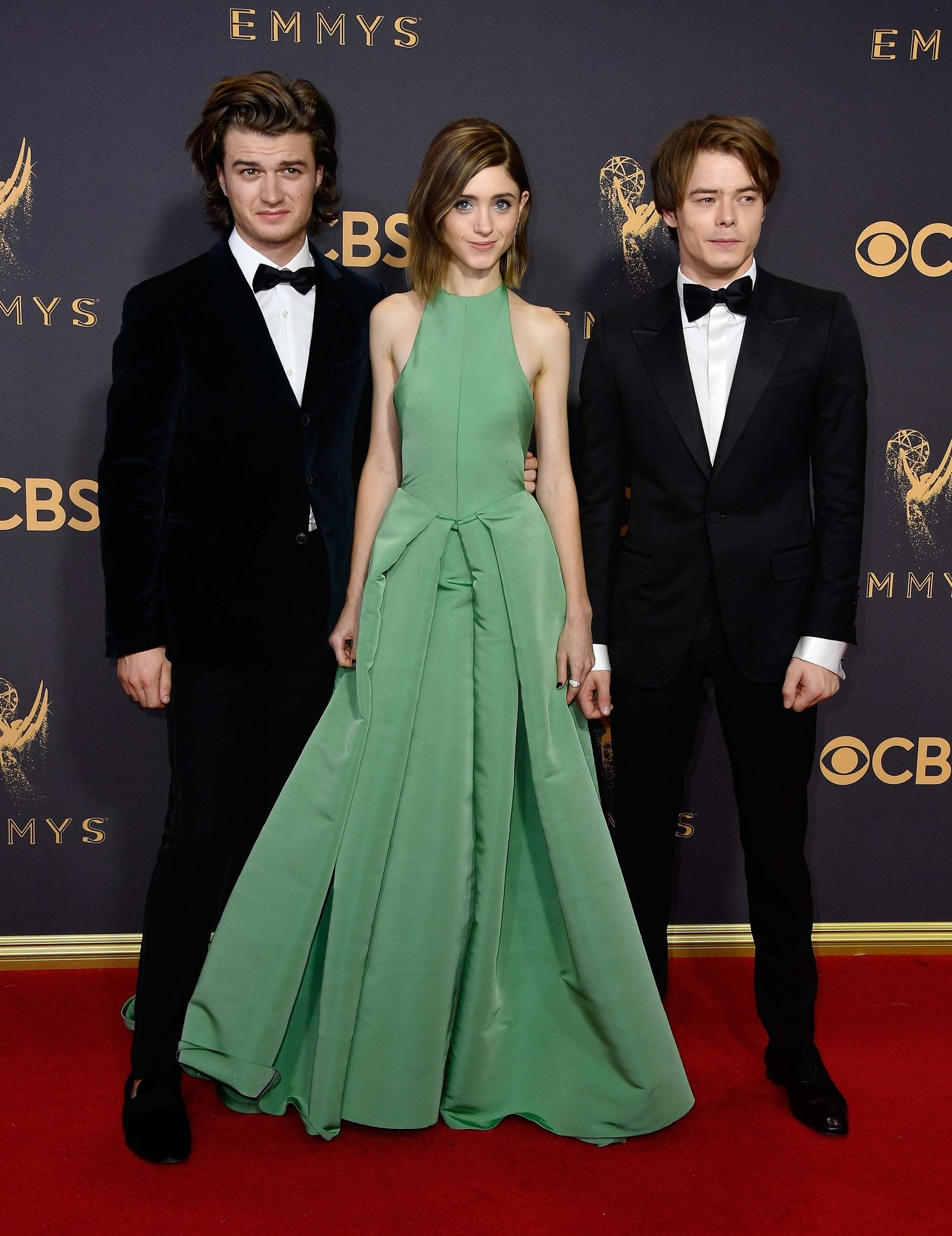 JOE KEERY, NATALIA DYER, AND CHARLIE HEATON Getty In Gucci (Heaton) at Emmys