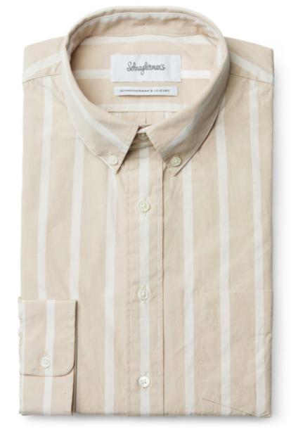 Schnaydermans skjorta Leisure Poplin Bold Stripe Beige and White