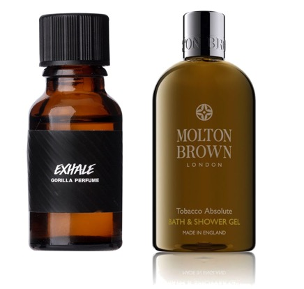 Exhale Gorilla Perfume från Lush och Molton Brown Tobacco Absolute Bath & Shower Gel