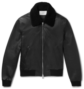 MR P Shearling-trimmed leather aviator jacket