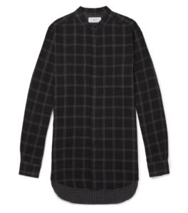 MR P granddad-collar checked shirt