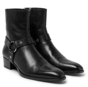 Cuban Heels - Saint Laurent Leather Harness Boots