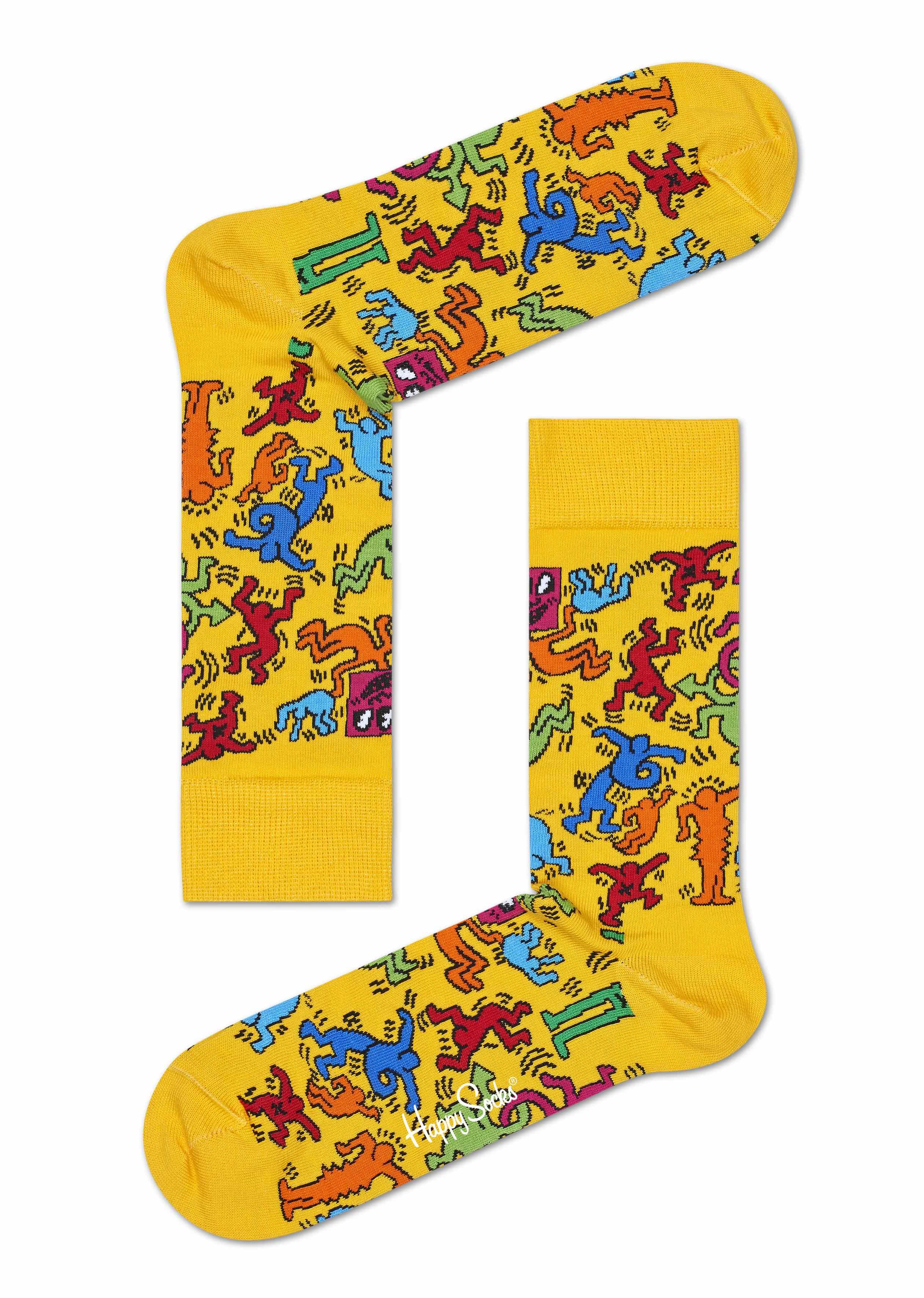 Happy Socks x Keith Haring strumpor gul ny