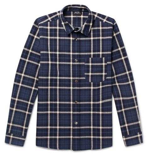 Rutiga skjortor - APC Felix Checked Cotton And Linen-Blend Shirt