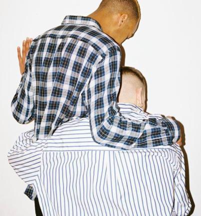 Rutiga skjortor - Country Shirt in Blue Cotton Check and Borrowed BD Shirt in Blue Candy Stripe Poplin