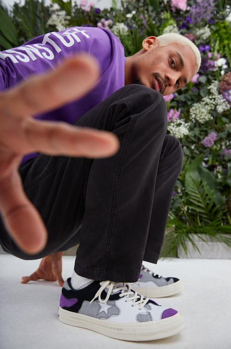 Converse x Sneakersnstuff purple from side
