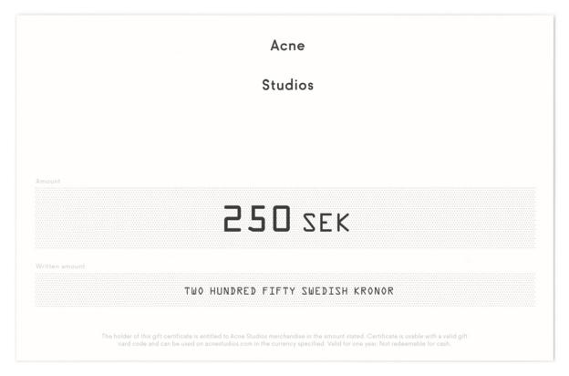 Presentkort Acne Studios