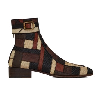 Saint Laurent Miles Boots Exotic Skins Patchwork