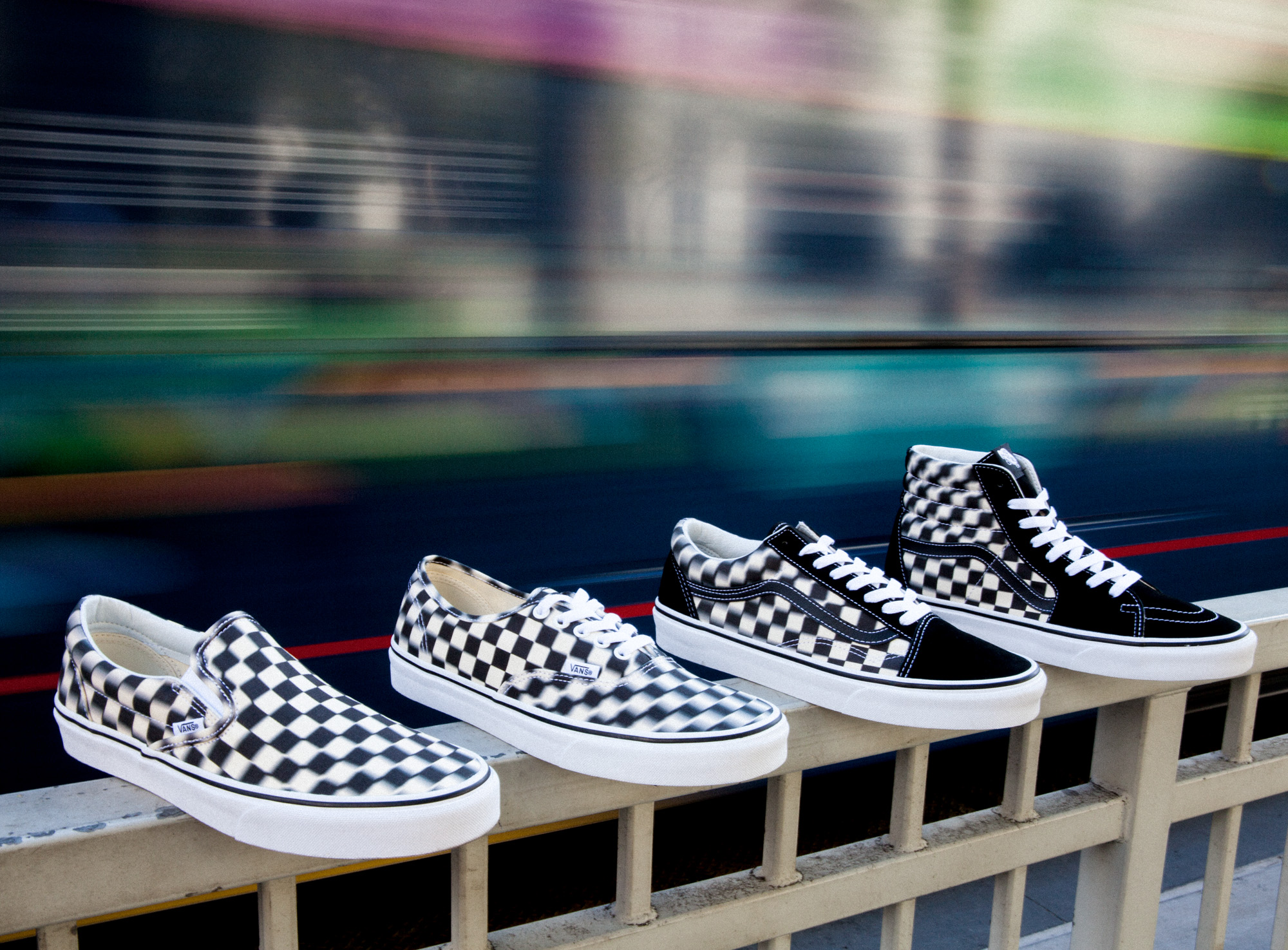 Vans Blur Check Pack Authentic, Old Skool, Classic Slip-On och Sk8-Hi