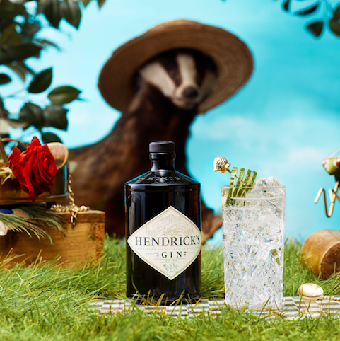 Hendrick's Gin Badger in a hat