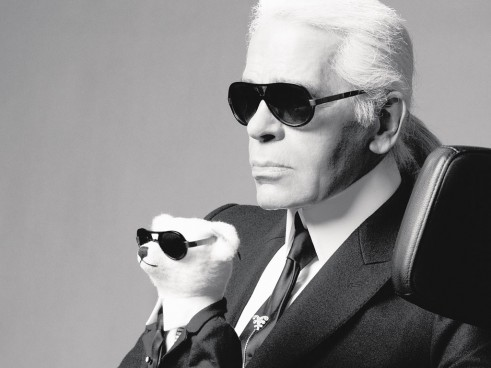 Karl Lagerfeld and teddy bear