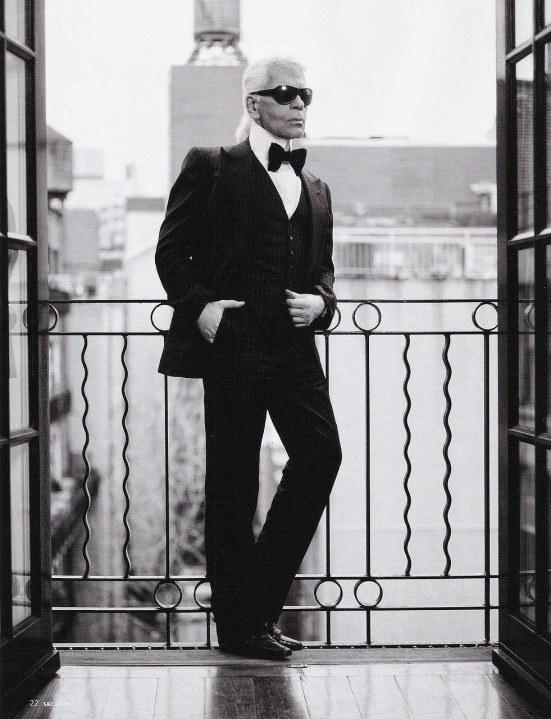Karl Lagerfeld i fluga och väst