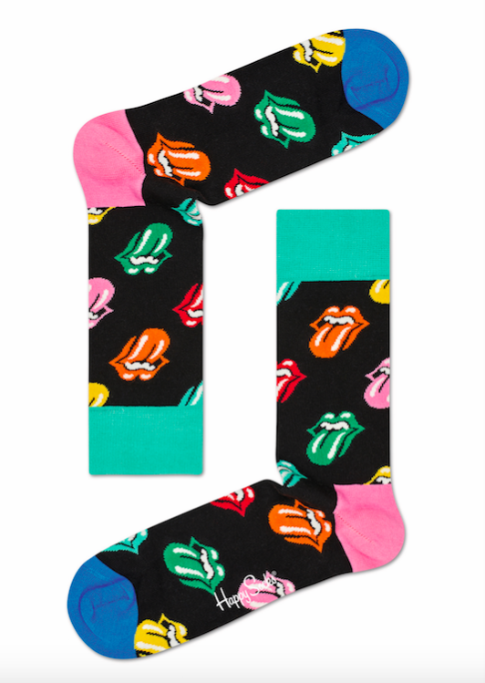 Happy Socks x The Rolling Stones turkos och rosa