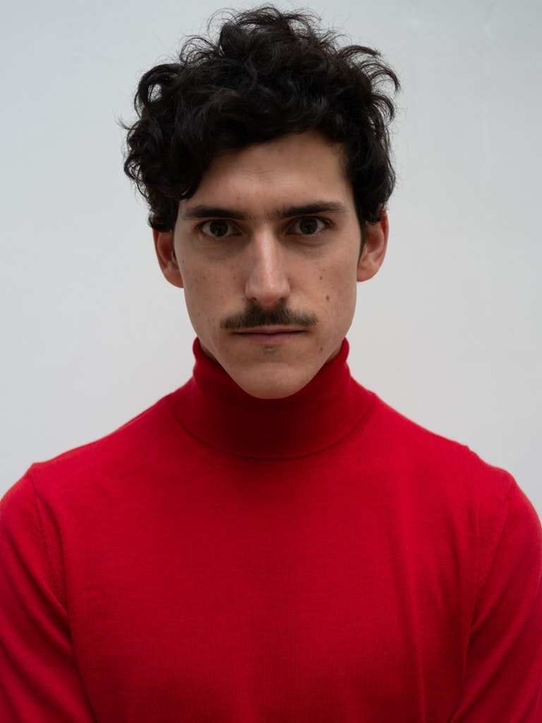 Tricot organic wool turtleneck red