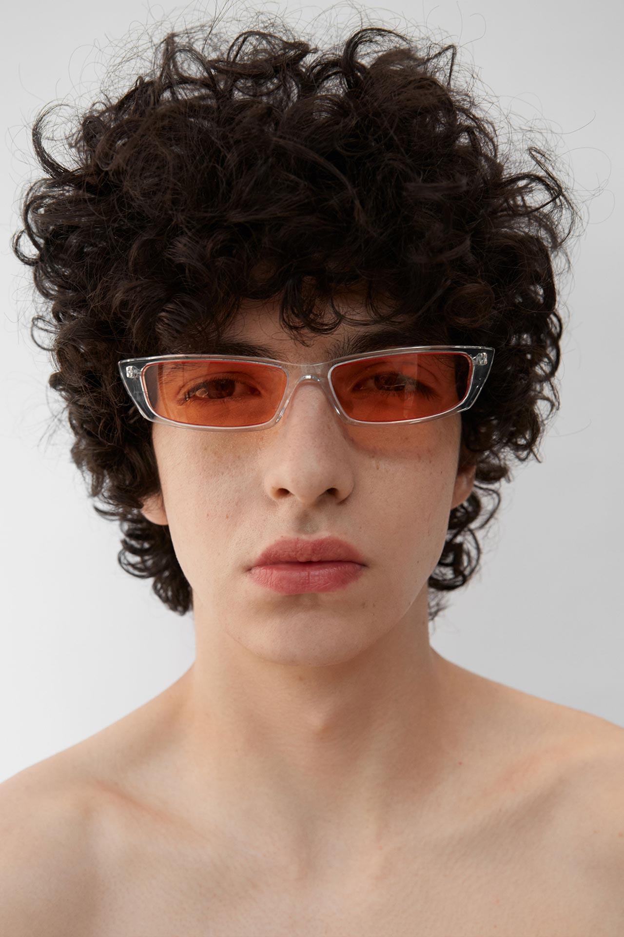 Acne Studios solglasögon man transparent och röd