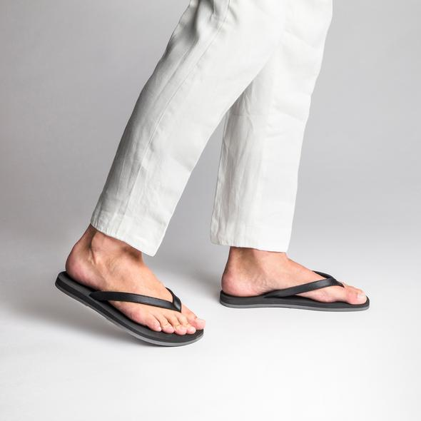The Resort Co Black Saffiano Leather flip-flops