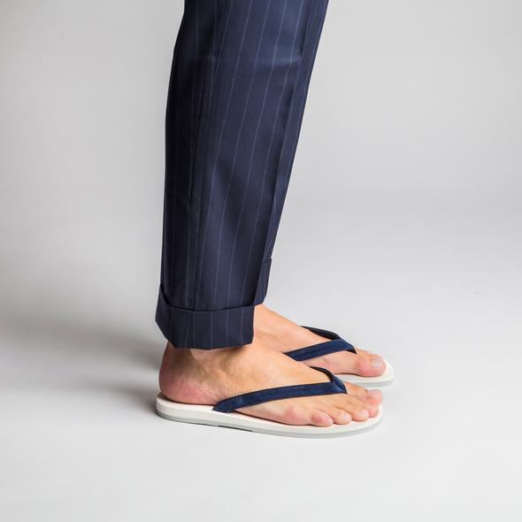 The Resort Co Navy Suede flip-flops