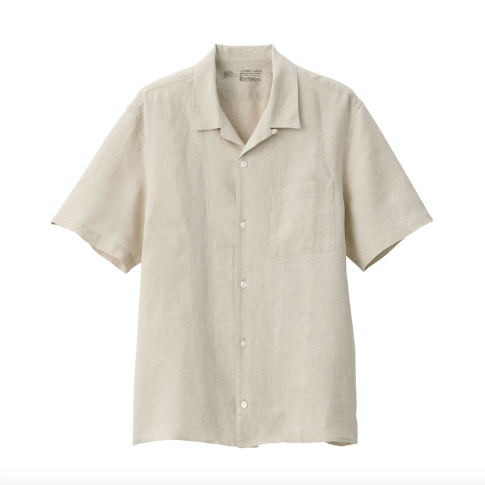 Muji SS20 Linneskjorta med camp collar